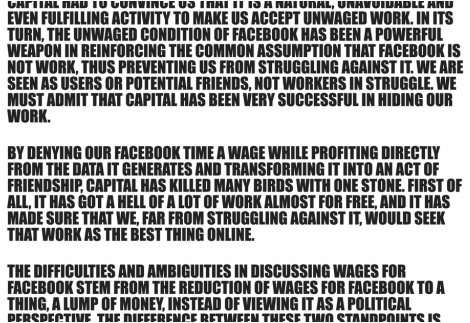 Laurel Ptak's Wages for Facebook questions the model for the digital economy